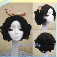 Snow White Short Black Curly Cosplay Wig, Short Black Costume Wigs for Party UF085