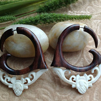 "Fake Gauge Earrings, ""Tribal Fleur"" Naturally Organic, Hand Carved, Sono Wood and Bone"