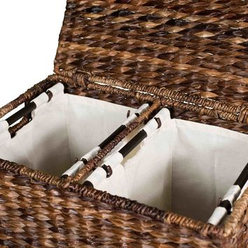 Divided Wicker Laundry Sorter