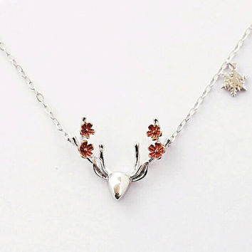Sterling Silver Necklace - Statement Necklace - Deer Necklace, Antler Necklace, Deer Flower Necklace- Girlfriend Gift - Wife Gift - Mom Gift