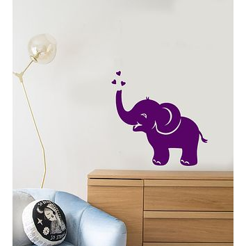 Vinyl Wall Decal Baby Elephant Hearts Decor For Kids Room Stickers (3737ig)