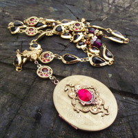 Victorian Red - Vintage Upcycled One of a Kind (OOAK) Locket Necklace and Earrings