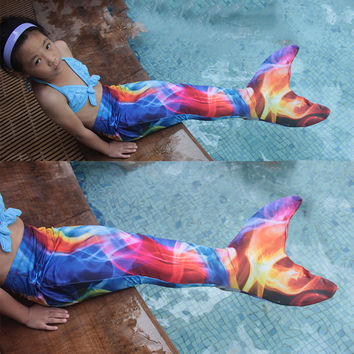 2016 New  mermaid Tail costume Fantasia Halloween Costume For Women Kids Girls Mermaid Tail with monofin