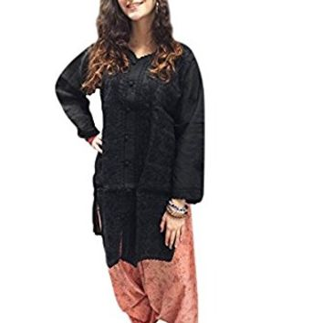 Mogul Womens Indian Tunic Cotton Black Floral Embroidered Bohemian Kurti Dress L