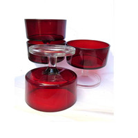 French vintage. Vintage glassware. Dessert set. Ruby red glass. Dessert cups. Red glassware. Ice cream cups. Luminarc. Four dessert dishes.