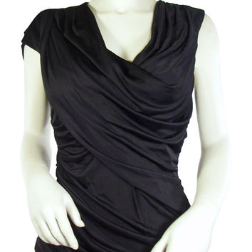 Alexander Wang Ruched Black Jersey Goddess Top / Sz 6