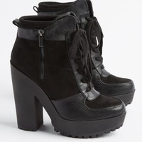 Black Lace Up Platform Bootie By Qupid