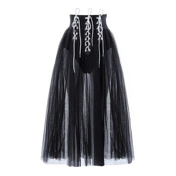 CAJSA Women's Mesh Laced Up Skirt