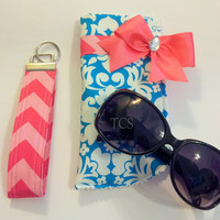 Pink Chevron and Turquoise Sunglasses Case with Key Fob