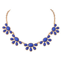 Fashion Flora Clusters Flower Pendant Necklace in Royal Blue