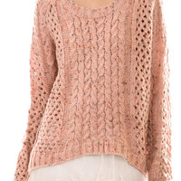 Peaches & Cream Lace Sweater + Free Surprise Gift!