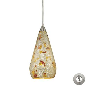 546-1SLVM-CRC-LA Curvalo 1 Light Pendant In Satin Nickel And Silver Multi Crackle Glass - Includes Recessed Lighting Kit - Free Shipping!