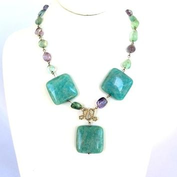 Amazonite and Fluorite Statement Necklace