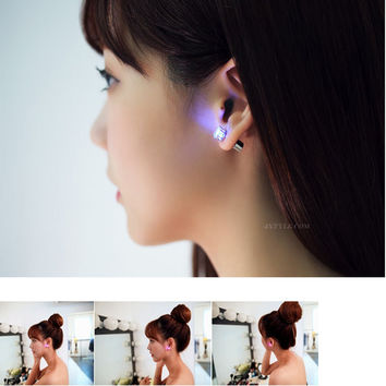Hot Sale 1PC Charm LED Earring Light Up Crown Glowing Crystal Stainless Ear Drop Ear Stud Earring Jewelry