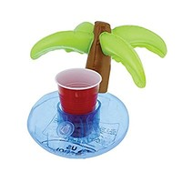U.S. Pool Supply Inflatable Floating Coconut Palm Tree Drink Holder Set (6 Pack) - Float Beverage Cans, Cups & Bottles - Fun Kid & Adult Pool Party