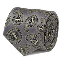 Batman Gray And Yellow Paisley Mens Tie