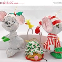 Vintage Christmas Ornaments - 3 Adorable Little Christmas Mice - Gift Idea - Christmas Gift - Christmas in July - Christmas