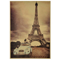 VINTAGE KISSING COUPLE IN CITROEN CAR IN FRONT OF EFFIEL TOWER POSTER