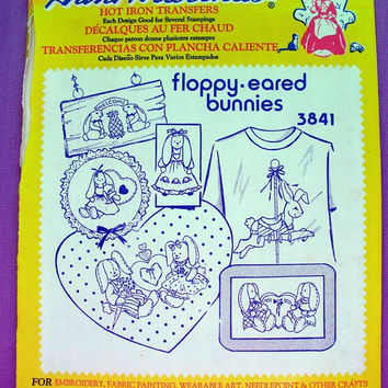 "Aunt Martha's ""Floppy Eared Bunnies"" Hot Iron Transfer Pattern 3841 for Embroidery, Fabric Painting, Needle Crafts"