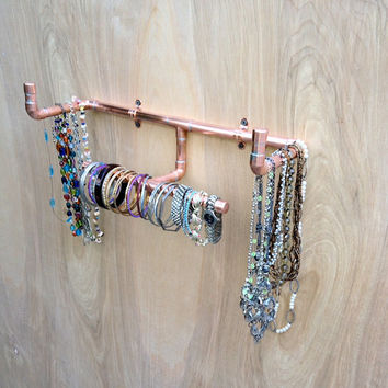Industrial Design Jewelry Organizer Wall Mounted Jewelry Rack, Hat Rack, Modern Wall Storage Towel Rack Steampunk Design, Accessories Rack,
