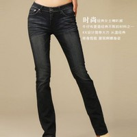 Women New Korea Slight Trumpet Jean Shown Thin Black Pants XS/S/M/L/XL/XXL@IM8882b $28.47 only in eFexcity.com.