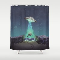 Abducted Shower Curtain by Sam Lyne