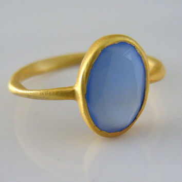 Blue Chalcedony Ring - Gemstone Ring - Gold Ring - handmade jewelry