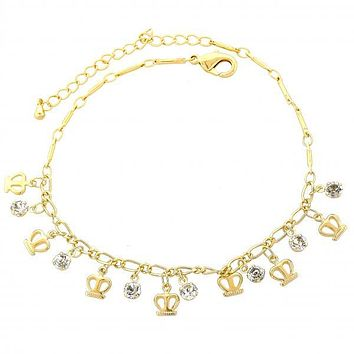 Gold Layered 03.63.0132.08 Charm Bracelet, Crown Design, with White Cubic Zirconia, Polished Finish, Gold Tone