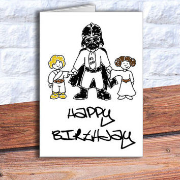 star wars birthday card Darth Vader Happy Birthday Card Funny Birthday Card Star Wars Card Star Wars inspired card Darth Vader card