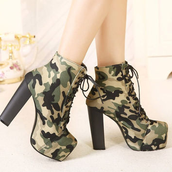Lola Lace Up Camo Booties