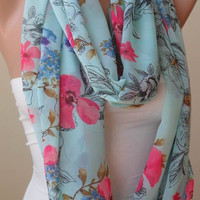 Infinty Scarf - Circle Scarf  -  Loop Scarf - Light Blue Scarf with Pink Flowers - Chiffon Fabric