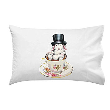 Rabbit Hole Funny Bunny in Teacup w/ Top Hat - Pillow Case Single Pillowcase