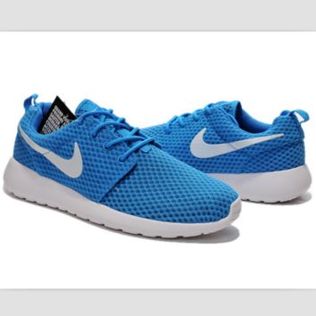 NIKE Roshe Run cellular breathable running shoes Sky blue and white