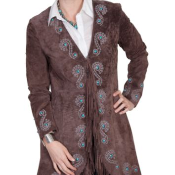 Scully Long Fringe Embroidered Leather Coat~ Cinnamon