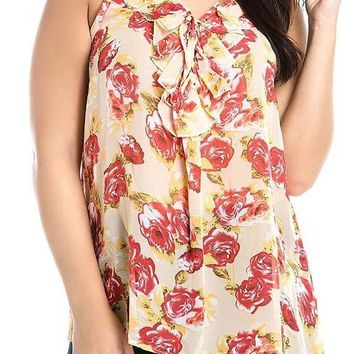 Sleeveless Ruffled Neck Floral Print Relax Fit Plus Size Blouse Top