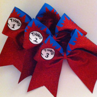3in. Thing 1 2 & 3 Glitter Cheerbow Set