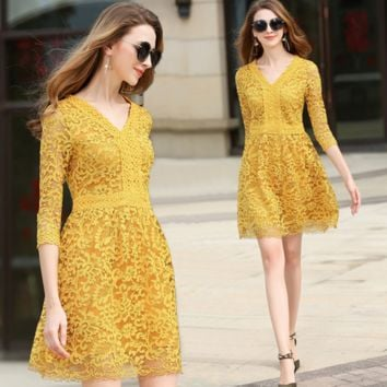 Fashion Elegant Simple Solid Color V-Neck Middle Sleeve Hollow Hook Flowers Lace Mini Dress
