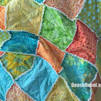 "Rag quilt throw with bright batiks and prints in tropical turquoise, orange, green, yellow rag quilt 72""x72"""