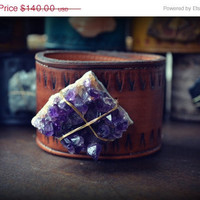 ON SALE LUX Adjustable Bohemian Recycled Leather Raw Amethyst Gemstone Cuff with Brass Thumb Post