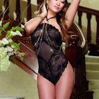 Black Stretch Mesh Lace Halter Teddy Intimates