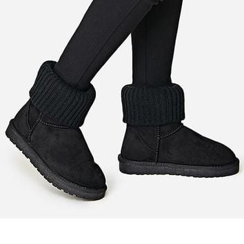 UGG Threaded curl Fashion Plush leather boots boots in tube Boots Black