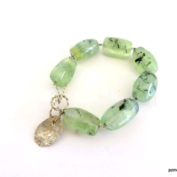 Green Gemstone Bracelet, Prehnite Gemstone Line Bracelet, Gift for Her