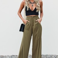 Alicia Wide Leg Pants Khaki