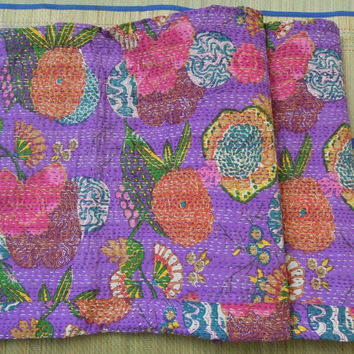 Purple Floral Indian Quilt -Queen Kantha Quilt Quilted Bedspreads,Throws,Ralli,Gudari Handmade Tapestery REVERSIBLE Bedding