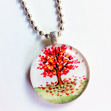 Red Maple Tree Pendant, Japanese Red Maple, Hand Painted Necklace, Tree Jewelry, Fall Leaves, Mini Jewelry, Customized, Handmade Pendant
