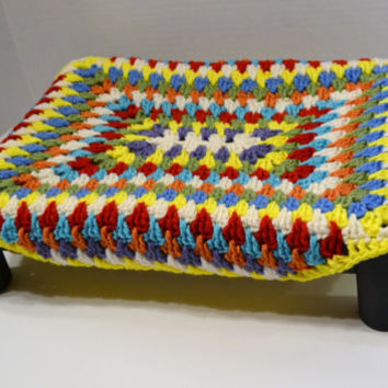 Crochet Pet Bed for Cat or Small Dog Granny Square Multi Color Wood Recycled Upcycle Handmade Littlestsister