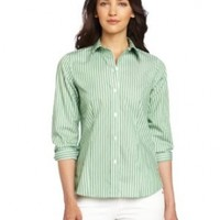 Foxcroft Women's Classic Stripe Printed Shirt, Green Clover, 8