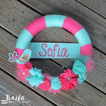 its a girl announcement, baby girl Wreath, Welcome Home Wreath, Baby Shower Decor, Girl Hospital Door, baby nursery decor, nursery wreath
