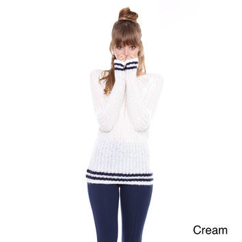 Contemporary Cream Varsity Sweater With Blue Stripe Detail TW-1767