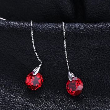 JewelryPalace Fashion 5.59ct Round Created Ruby Threader Earrings 925 Sterling Silver Fine Jewelry Party Long Earrings For Women